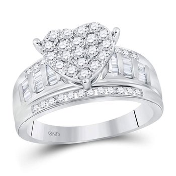 10kt White Gold Womens Round Diamond Heart Cluster Bridal Wedding Engagement Ring 1.00 Cttw