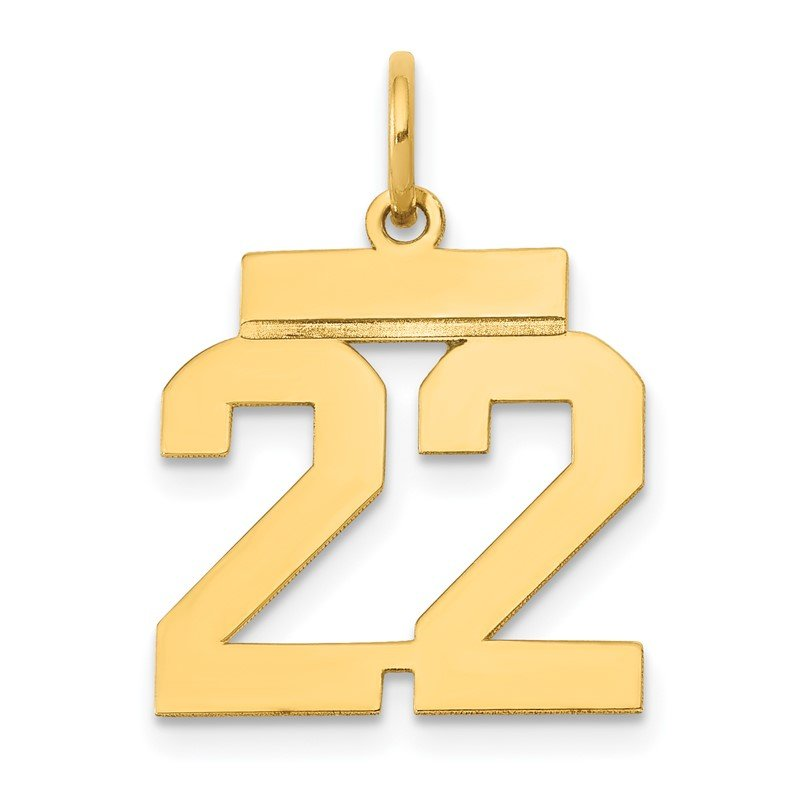 Quality Gold 14k Small Polished Number 22 Charm