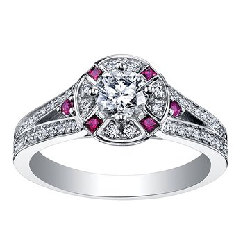Maple Leaf Diamond Ladies Engagement Ring