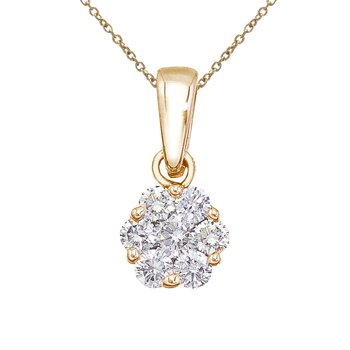 14K Yellow Gold .50 Ct Diamond Cluster Pendant