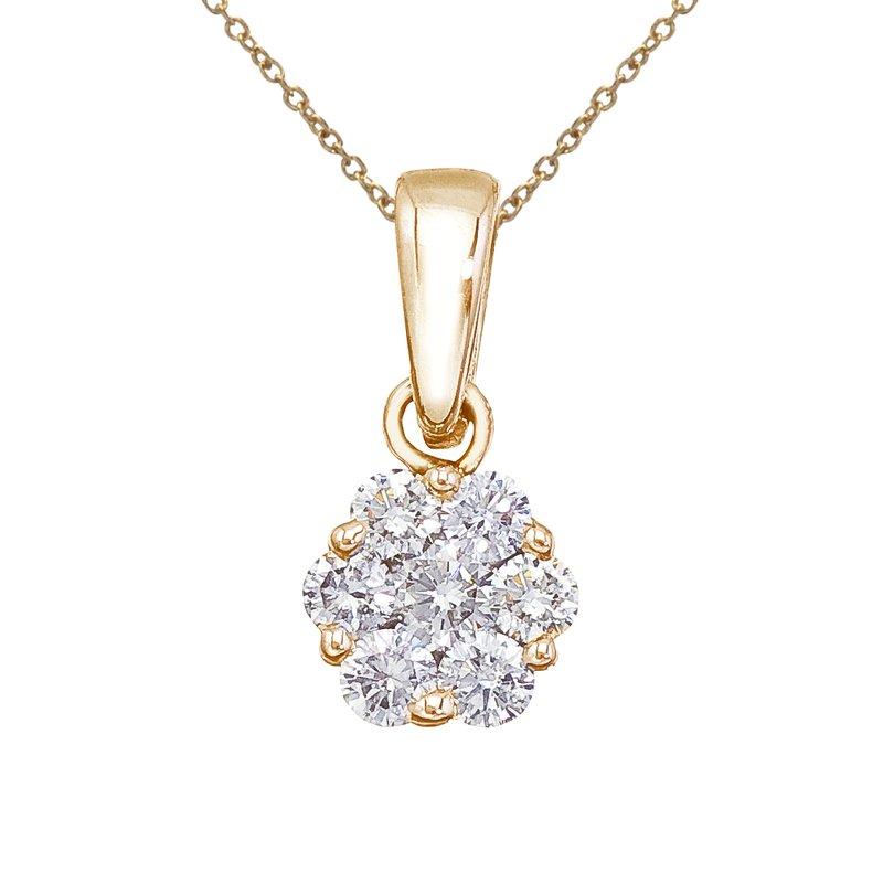 Color Merchants 14K Yellow Gold .50 Ct Diamond Cluster Pendant