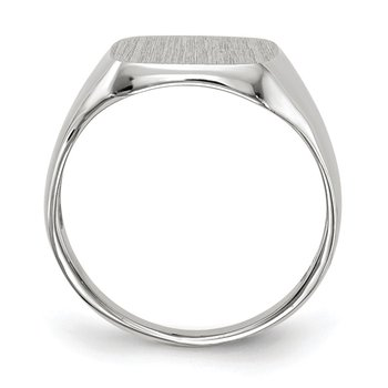 14k White Gold 11.0x10.5mm Closed Back Men's Signet Ring