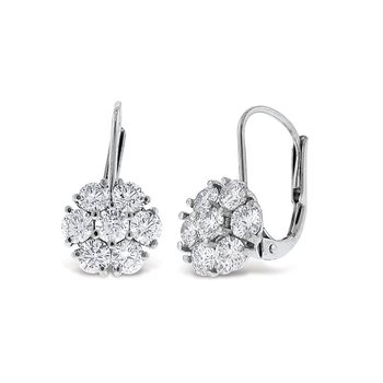 Diamond Cluster Drop Earrings in 14k White Gold with 14 Diamonds weighing 1.07ct tw