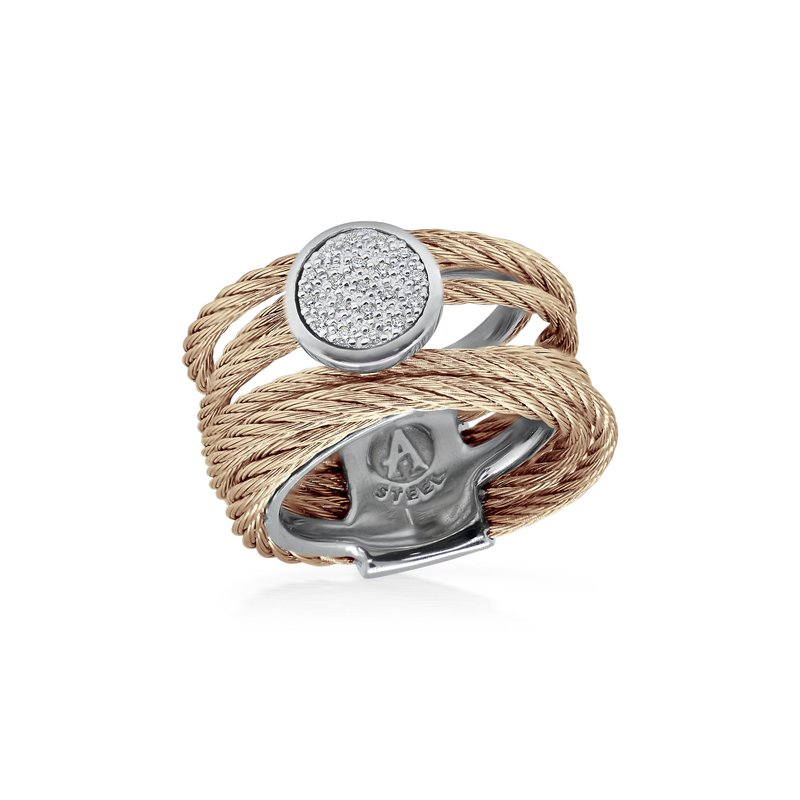 ALOR Catalog Carnation Cable Intermix Ring with 18kt White Gold & Round Diamond Station