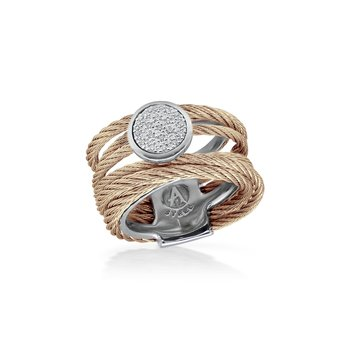 Carnation Cable Intermix Ring with 18kt White Gold & Round Diamond Station