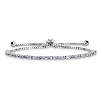 Sterling Silver Rhod-plated June Lavender CZ Adjustable Bracelet