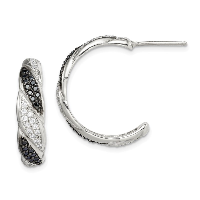 JC Sipe Essentials Sterling Silver Black & White CZ J Hoop Stud Earrings