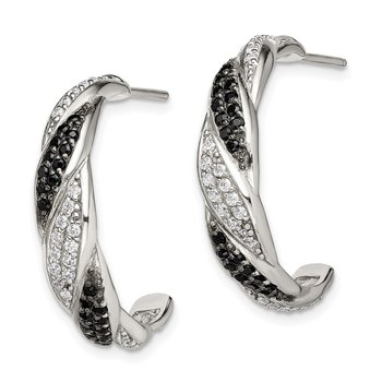 Sterling Silver Black & White CZ J Hoop Stud Earrings