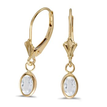 14k Yellow Gold Oval White Topaz Bezel Lever-back Earrings