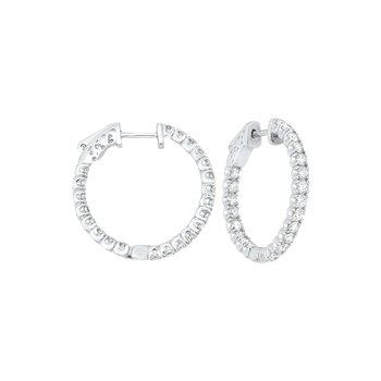 In-Out Prong Set Diamond Hoop Earrings in 14K White Gold  (2 ct. tw.) SI3 - G/H