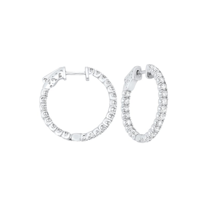 Gems One In-Out Prong Set Diamond Hoop Earrings in 14K White Gold  (2 ct. tw.) SI3 - G/H
