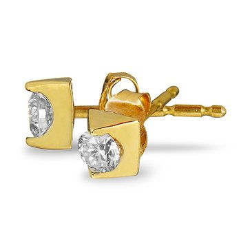 14K YG Diamond 'Forever' Solitaire Earring