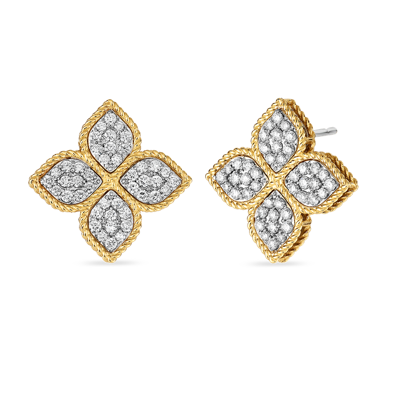 Roberto Coin Large Stud Earrings With Diamonds