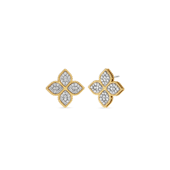 18Kt Gold Large Stud Earrings With Diamonds