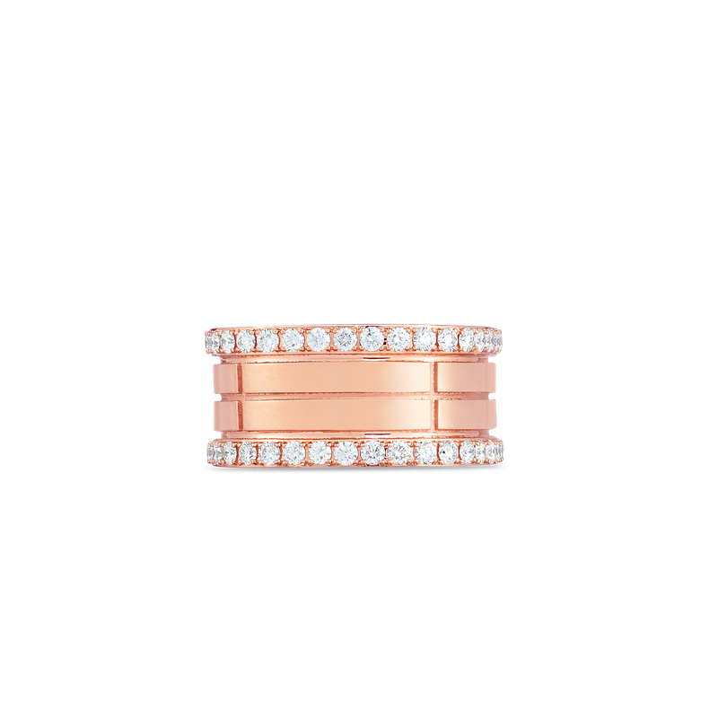 Roberto Coin  #29783 Of 18K 4 Row Portofino Band W. Diamond Edges