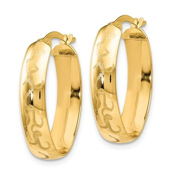 Leslie's 14K Polished w/Laser Design Oval Hoop Earrings
