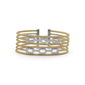 Yellow Cable Layered Links Bracelet with 18kt White Gold & Diamonds