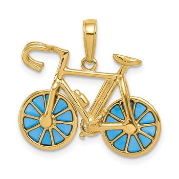 14K 3-D Blue Enameled Moveable Bicycle Pendant