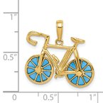 Quality Gold 14K 3-D Blue Enameled Moveable Bicycle Pendant