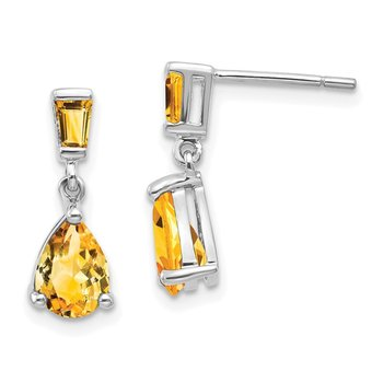 14k White Gold Citrine Dangle Post Earrings