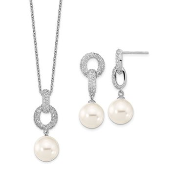 Sterling S Majestik RH 10-11mm Wht Imitat Shell Pearl & CZ Ear & Neck Set