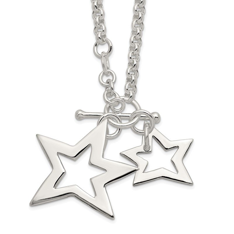 Quality Gold Sterling Silver Fancy Stars Necklace