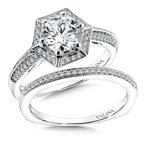 Valina Geometric shape halo .18 ct. tw., 1 ct. round center