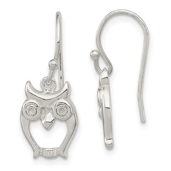 Sterling Silver Owl Shepherd Hook Earrings