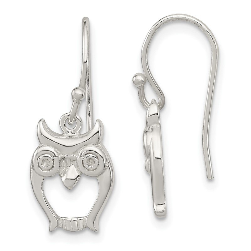 Quality Gold Sterling Silver Owl Shepherd Hook Earrings