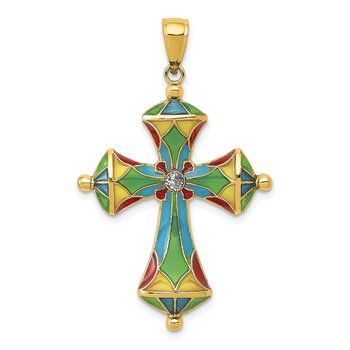 14K Multi Color Enamel Cross Pendant