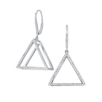 14K Gold and Diamond Mod Triangle Earrings