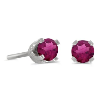 14k Petite White Gold Round Rhodolite Garnet Stud Earrings in 14k White Gold