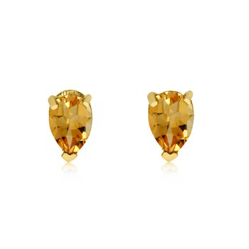 14k Yellow Gold Citrine Pear-Shaped Earring