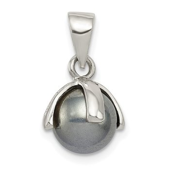 Sterling Silver Grey Imitation Pearl Pendant