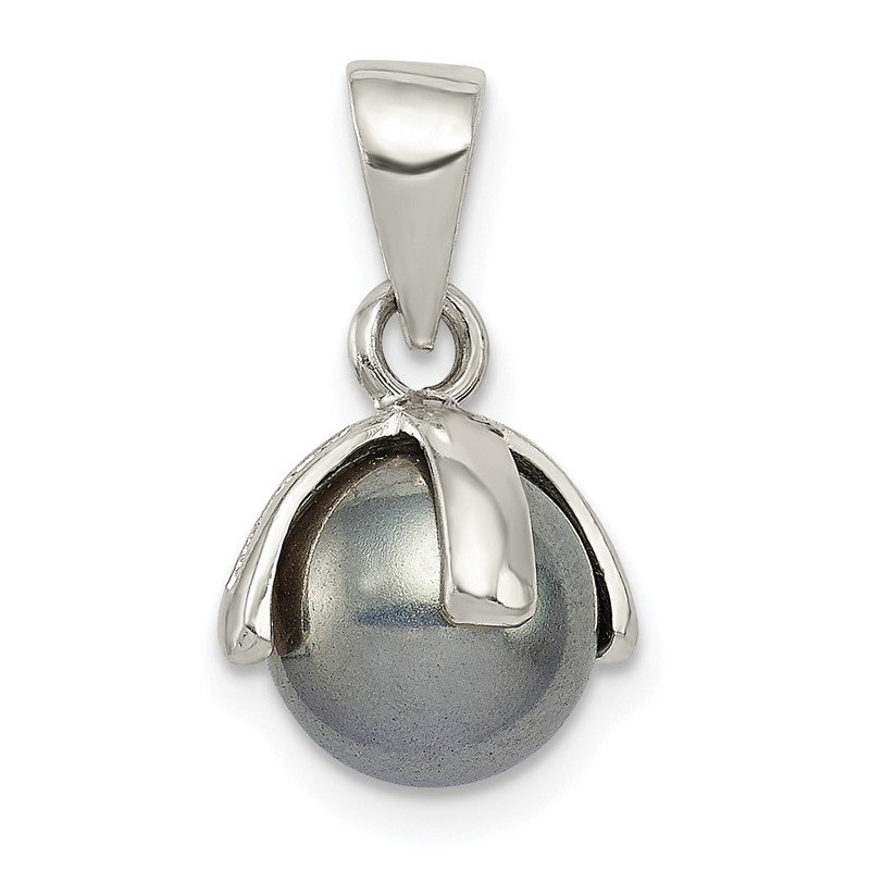 Quality Gold Sterling Silver Grey Imitation Pearl Pendant
