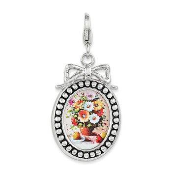 Sterling Silver Framed Bouquet Of Flowers w/ Lobster Clasp Charm