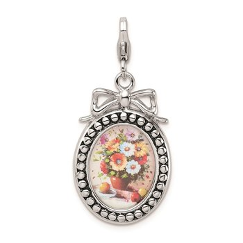 Sterling Silver Amore La Vita Rhod-pl Framed Bouquet Of Flowers Charm