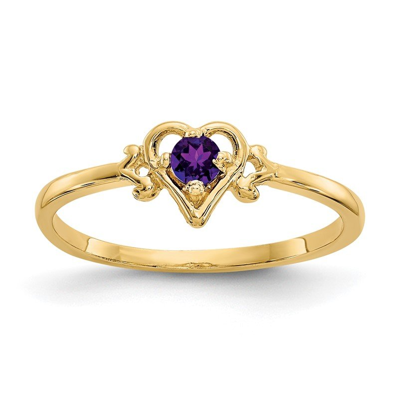 Quality Gold 14K Amethyst Birthstone Heart Ring