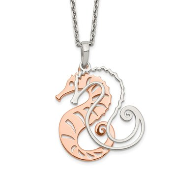 Sterling Silver Rose-tone Seahorse w/ 2in ext. Necklace