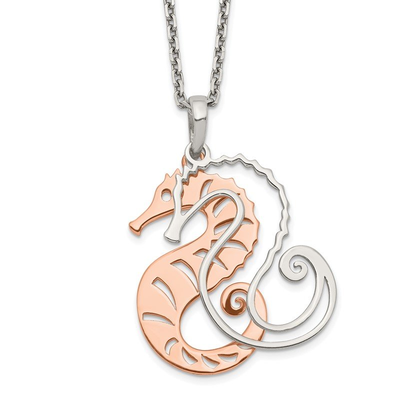Quality Gold Sterling Silver Rose-tone Seahorse w/ 2in ext. Necklace