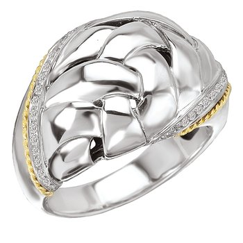 18K/SILVER WOVEN DESIGN WITH  DIAMOND RING D1/8CTW
