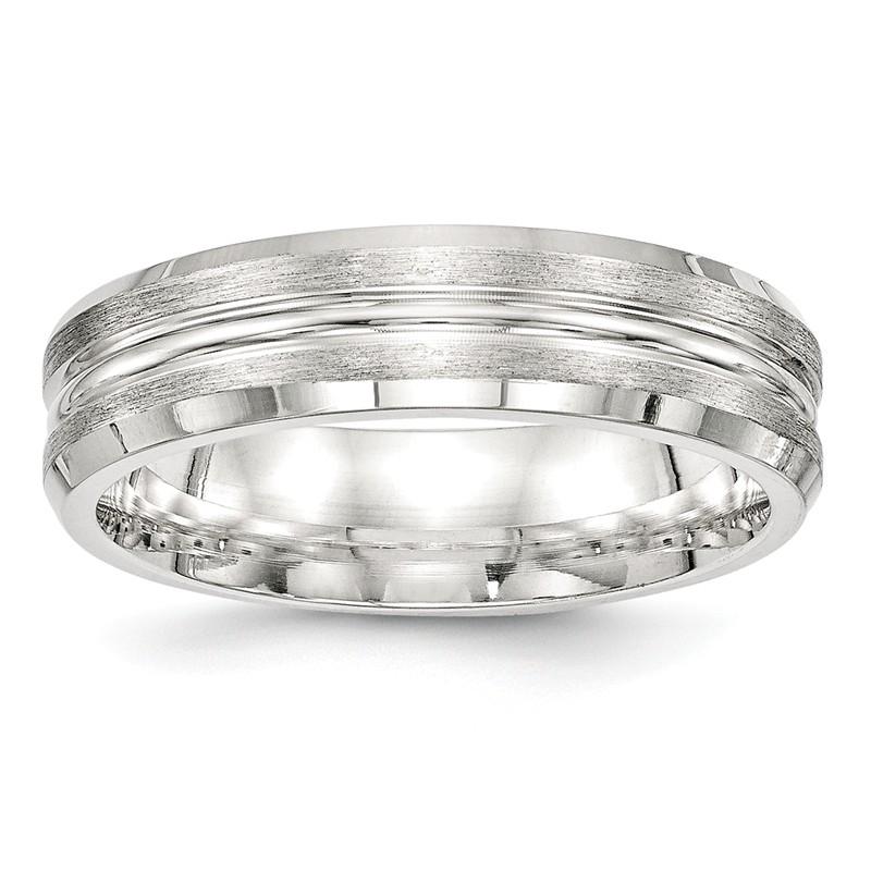 Bridal Wedding Bands Fancy Bands Titanium Satin and Polished Diamond Band Size 11