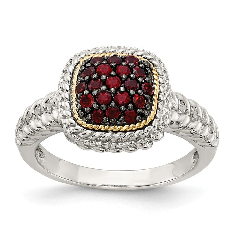 Shey Couture Sterling Silver w/14k and Black Rhodium Garnet Ring