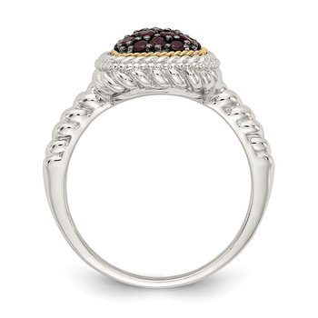 Sterling Silver w/14k and Black Rhodium Garnet Ring