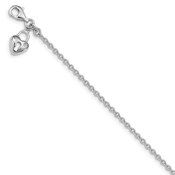 Sterling Silver Glass Bead Heart Bracelet