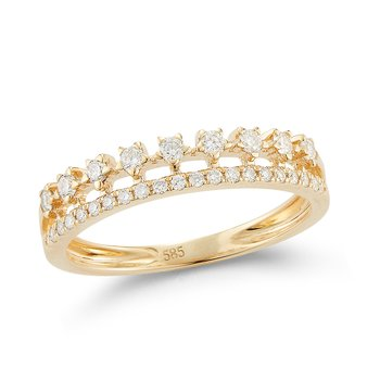 14K crown design ring 30 Diamonds 0.30C