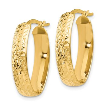 Leslie's 14K D/C Oval Hinged Hoop Earrings
