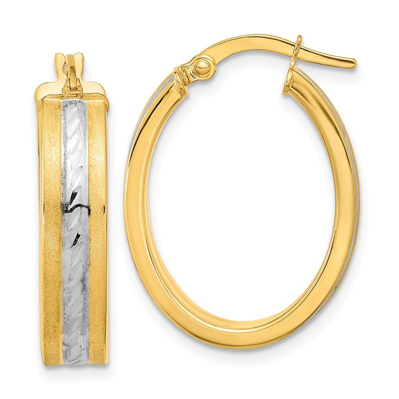 J.F. Kruse Signature Collection 14k & White Rhodium D/C Polished & Satin Hoop Earrings