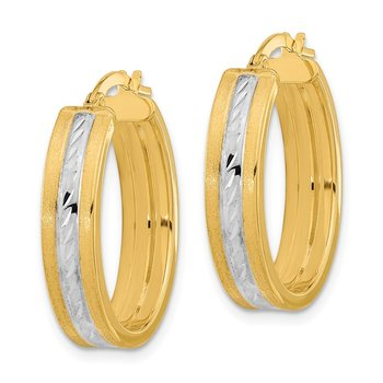 14k White Rhodium Diamond-cut Polished and Satin Hoop Earrings