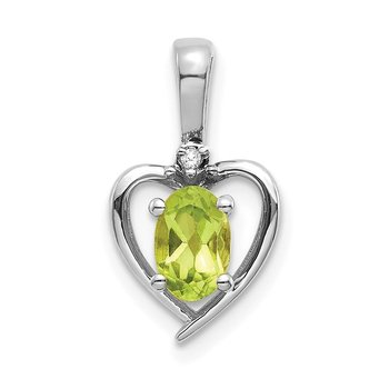 14k White Gold Peridot and Diamond Heart Pendant